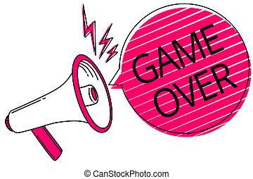 over., tekst, zakończenie, sport, różowy, message., mowa, fotografia, konceptualny, megafon, bańka, głośnik, jego, pokaz, osiągać, pasy, gra, ważny, szczegół, znak, egzaminy końcowe, sytuacja, głośny, albo