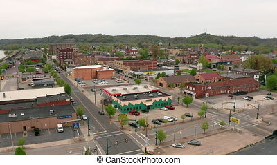 Over The Downtown City Center and Courthouse in Ironton Ohio...
