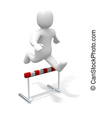 Over the hurdle - Man jumping over the hurdle. 3d rendered...