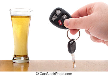 Over The Limit - Drunk driving concept image with a hand...