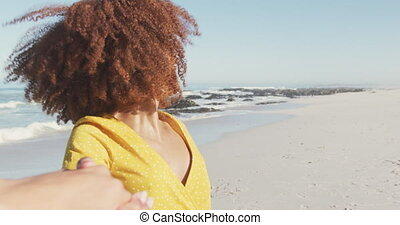 Over the shoulder view of African American woman - Front ...