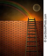 Over the wall - Surreal painting. Ladder and brick wall.