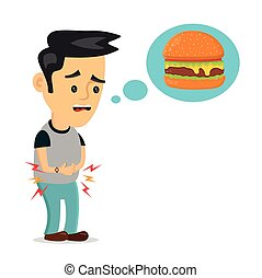 over, voedingsmiddelen, hongerige , jonge, lijden, denkt, ...