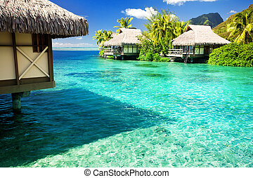 Over water bungalows with steps into amazing lagoon - Over...