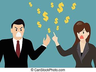 over, zakenlui, geld, hebben, ruzie