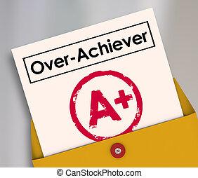 overachiever, classe, a+, partition, plus, rapport, over-achiever, évaluation, sommet, carte