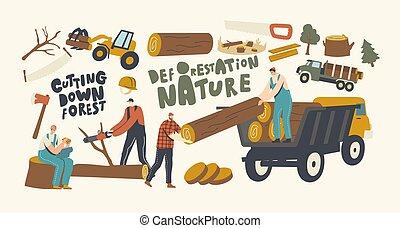overall, felszerelés, erdőirtás, fakitermelés, favágó, ...