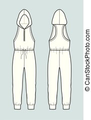 Overall - Vector illustration of coveralls with hood. Front...