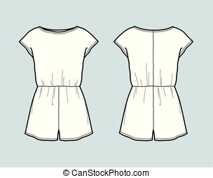 Overall - Vector illustration of overall shorts. Front and...