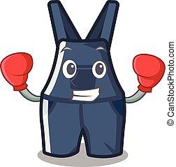 overalls, boxe, isolado, mascote