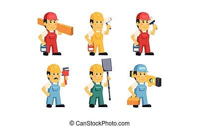 overalls, diferente, trabalhadores, caráteres, jogo, construtor, ilustração, vetorial, fundo, construção, branca, ferramentas, caricatura, pessoal