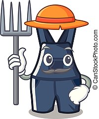 overalls, mascote, isolado, agricultor