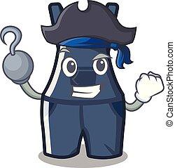 overalls, mascote, isolado, pirata
