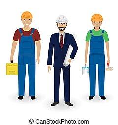 overalls, paar, werkmannen , vrijstaand, achtergrond., bouwsector, werkjes, kostuum, witte , mensen., ingenieur