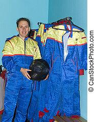 overalls, rennsport, mann