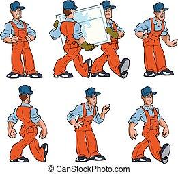 overalls, trabalho, homens