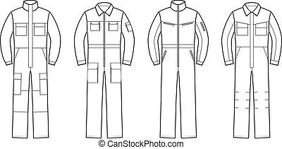 overalls, werken