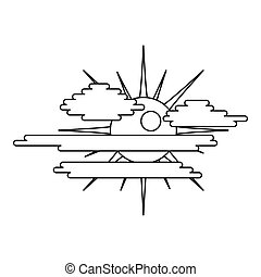 Overcast icon, outline style.