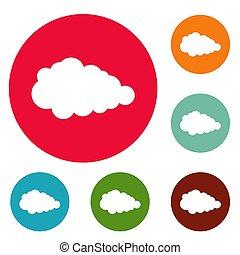 Overcast icons circle set