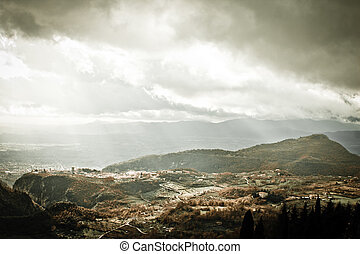 Overcast landscape in Italy