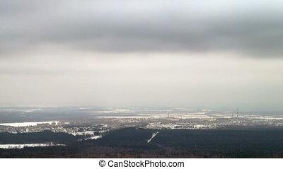 Overcast winter. Time Lapse. 4K