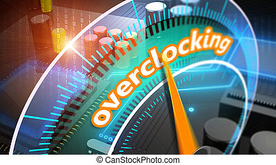Overclocking processor 3D illustration - Overclocked...