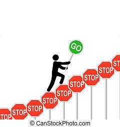 overcomes, 一時停止標識, 人, 昇給, サイン, 行きなさい