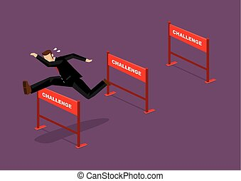 Overcoming Challenges Business Cartoon Vector Illustration...