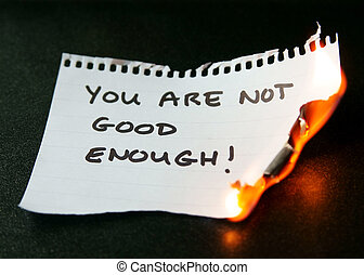overcoming feelings of inadequacy - burning piece of paper...