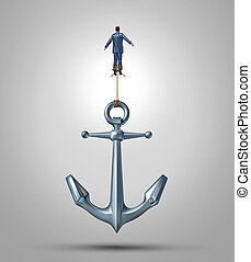Overcoming limitations and adversity as a business concept of liberation confidence and courage to escape the obstacles of life as a businessman rising up lifting a heavy anchor achieving success with the power of belief.