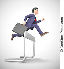 Overcoming obstacles depicted by a man jumping over a hurdle...