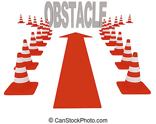 Overcoming obstacles. On white background. 3d graphics