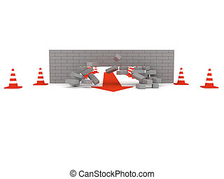 Overcoming obstacles. The destruction of brick wall.