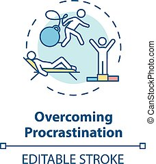 Overcoming procrastination concept icon. Self discipline, motivation idea thin line illustration. Finding inspiration, creative growth. Vector isolated outline RGB color drawing. Editable stroke
