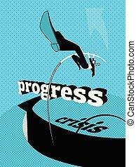 Overcoming the crisis. Progress. Pole vault.