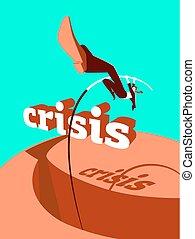 Overcoming the crisis. Success. Pole vault