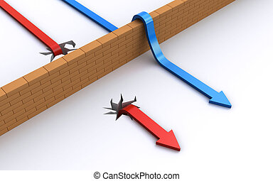 Two arrows going over and under the wall (3d render)
