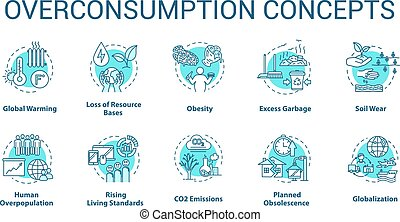 Overconsumption concept icons set
