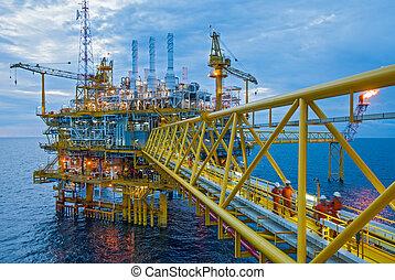 overdracht, olie, gas, platforms