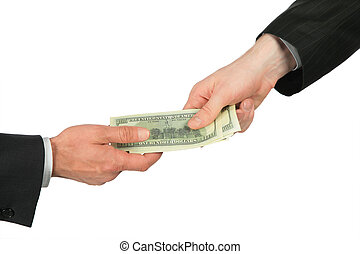 overdrachten, dollars, een, een ander, hand