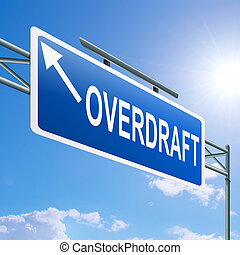 Overdraft concept. - Illustration depicting a highway gantry...