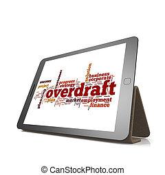overdraft, woord, wolk, op, tablet