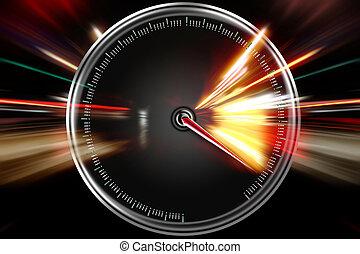 overdrevne, hastighed, på, den, speedometer