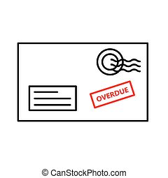 overdue bill envelope icon - vector illustration