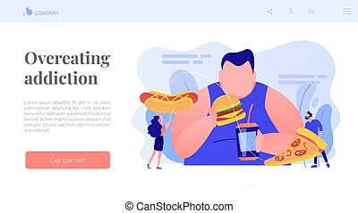 Overeating addiction concept landing page. - Overweight man ...
