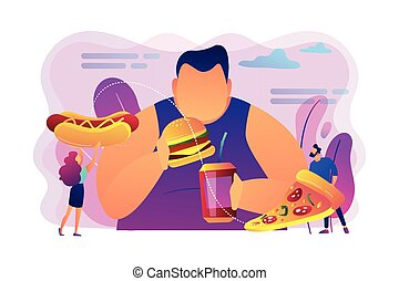 Overeating addiction concept vector illustration. - ...