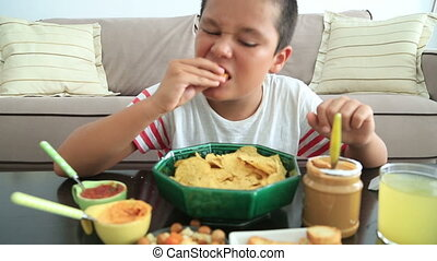 Overeating child having abdominal pain