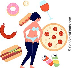 Overeating. Fast food addiction, nutrition problems ...