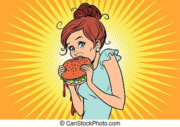 Overeating fast food. Woman secretly eating a Burger. Comic ...