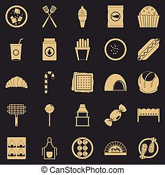 Overeating icons set, simple style - Overeating icons set. ...